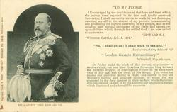 HIS MAJESTY KING EDWARD VII 3/4 length (head/shoulders images listed separately)  TO MY PEOPLE, ENCOURAGED... TO UNDERTAKE