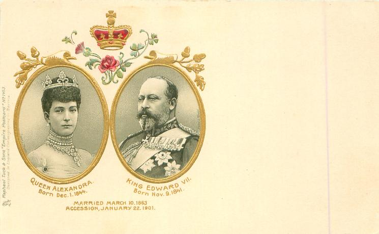 insets of QUEEN ALEXANDRA, & KING EDWARD VII, with or w/o  ACCESSION,  JANUARY 22 1901, with or w/o quotes