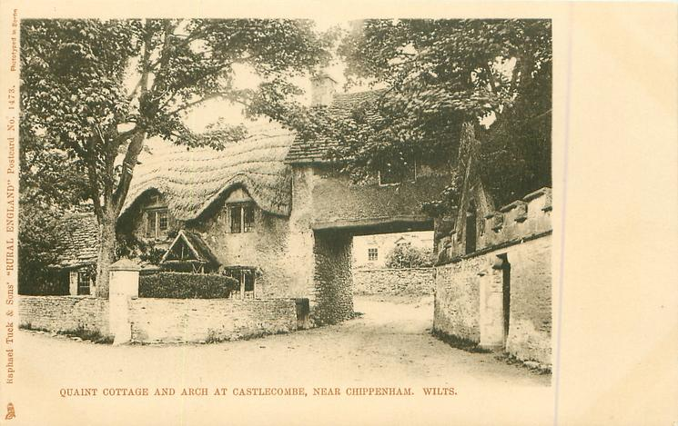 QUAINT COTTAGE AND ARCH AT CASTLECOMBE, CHIPPENHAM, WILTS.