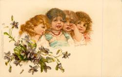 four unhappy & crying girls, violets below