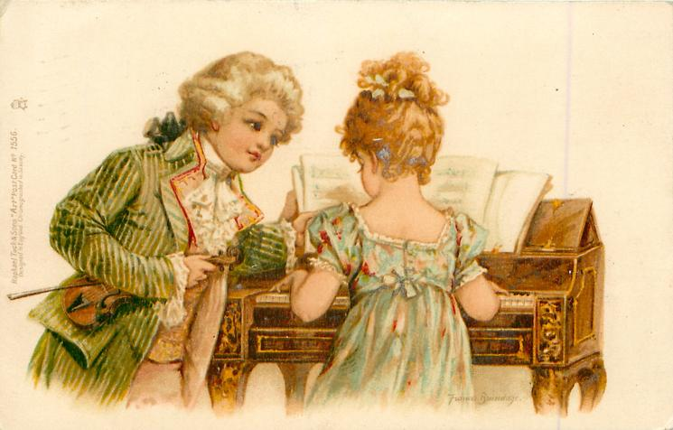 girl playing piano, boy in green jacket, holds violin, turning pages