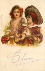 boy with guitar & girl with roses