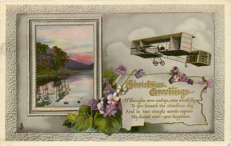 CHRISTMAS GREETINGS  rural insert, antique airplane