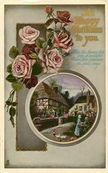 A HAPPY CHRISTMAS TO YOU  two cottages, pink roses