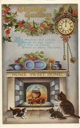 CHRISTMAS GREETINGS  cat & 3 kittens before fire