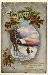 XMAS  woman & dog walk in snow towards cottage