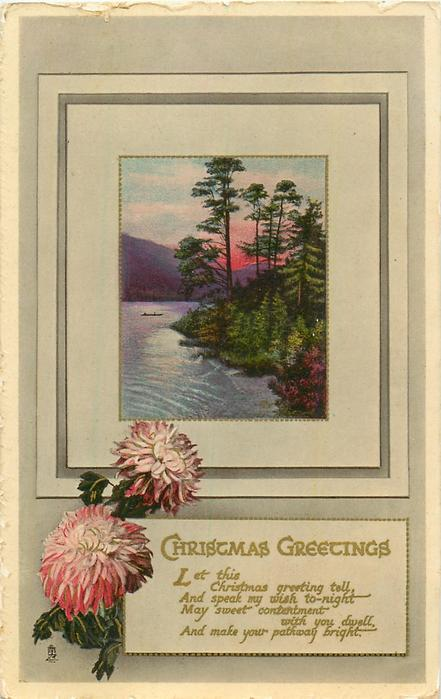 CHRISTMAS GREETINGS  LET THIS CHRISTMAS GREETING TEL.... lochside inset, pink chrysanthemums