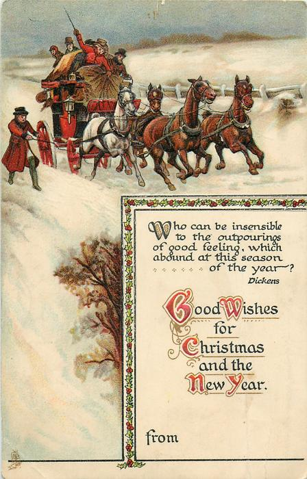 GOOD WISHES FOR CHRISTMAS AND THE NEW YEAR  coach & horses in snow