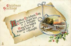 CHRISTMAS GREETINGS  insert winter scene, two people
