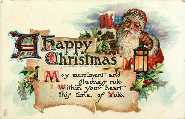 A HAPPY CHRISTMAS  Santa right, carries lantern