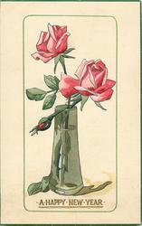 A HAPPY NEW YEAR  pink roses in glass vase
