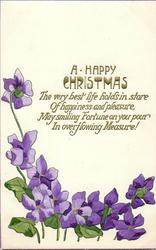 A  HAPPY CHRISTMAS  violets below