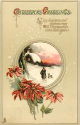 CHRISTMAS GREETINGS  poinsettia below rural insert