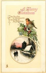 A MERRY CHRISTMAS  robin perches on holly above inset, church & two people on the road inset