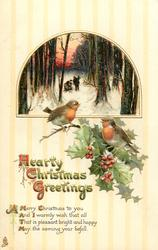 HEARTY CHRISTMAS GREETINGS  2 robins perch on holly below inset, two people carry wood in forest inset