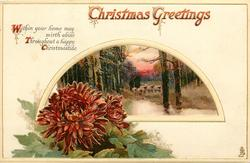 CHRISTMAS GREETINGS  red/purple chrysanthemums below rural insert, sheep