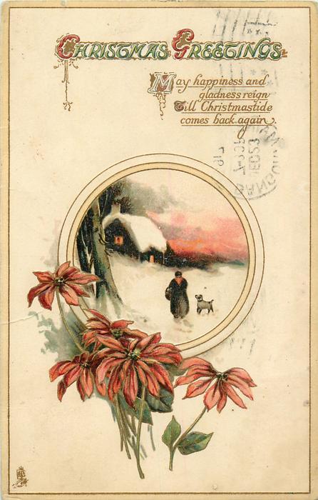 Christmas greetings poinsettia below rural insert inset cottage christmas greetings poinsettia below rural insert inset cottage dog old woman m4hsunfo