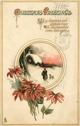 CHRISTMAS GREETINGS  poinsettia below rural insert, inset cottage, dog & old woman