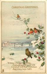 CHRISTMAS GREETINGS  4 robins, snow scene
