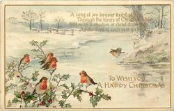 TO WISH YOU A HAPPY CHRISTMAS  6 robins, snowy stream