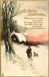 A HAPPY CHRISTMAS  woman & dog walk back in snow to lighted cottage