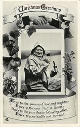 CHRISTMAS GREETINGS  old mariner with beer, ivy & heather, clasped hands