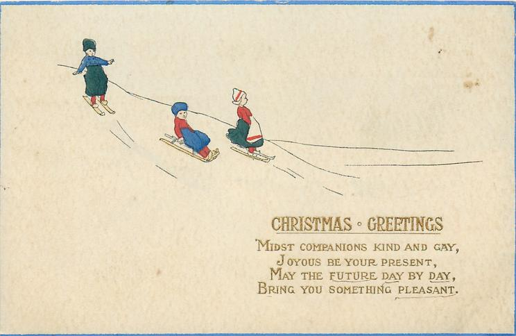 CHRISTMAS GREETINGS  Dutch children toboggan down from left