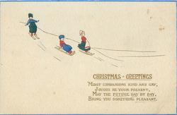 CHRISTMAS GREETINGS  Dutch children toboggan down from left