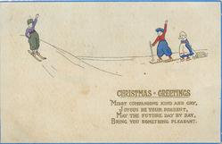 CHRISTMAS GREETINGS  Dutch boy skies down from left, boy & girl right