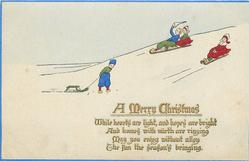 A MERRY CHRISTMAS  Dutch children toboggan on right