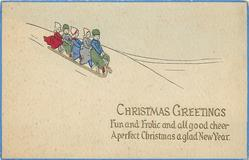 CHRISTMAS GREETINGS  Dutch family toboggan from left