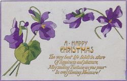 A HAPPY CHRISTMAS  purple violets