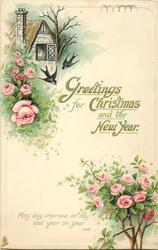 GREETINGS FOR CHRISTMAS AND THE NEW YEAR  two swallows, cottage, pink roses