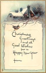 CHRISTMAS GREETINGS AND ALL GOOD WISHES FOR A HAPPY NEW YEAR  cottage above 2 small robins perched