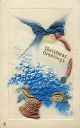 CHRISTMAS GREETINGS  swallow on handle of gilt basket of blue flowers