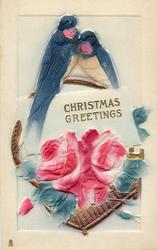 CHRISTMAS GREETINGS  two swallows on handle of gilt basket of pink roses