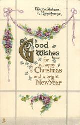 GOOD WISHES FOR A HAPPY CHRISTMAS AND A BRIGHT NEW YEAR  pansies
