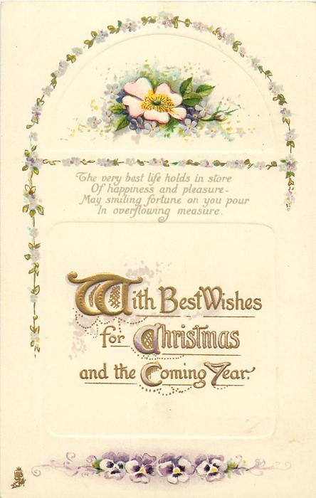 WITH BEST WISHES FOR CHRISTMAS AND THE COMING YEAR  dog-rose & pansies