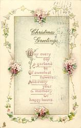 CHRISTMAS GREETINGS ivy border with 4 floral bunches