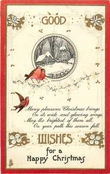GOOD WISHES FOR A HAPPY CHRISTMAS  3 robins, windmill behind, red border