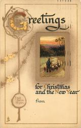 GREETINGS FOR CHRISTMAS AND THE NEW YEAR  shepherd  drives sheep away