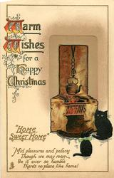WARM WISHES FOR A HAPPY CHRISTMAS  black cat & kitten sit by fire, kettle
