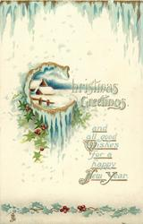 CHRISTMAS GREETINGS AND ALL GOOD WISHES FOR A HAPPY NEW YEAR  holly, icicles, rural inset