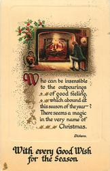 WITH EVERY GOOD WISH FOR THE SEASON  man sits by fire
