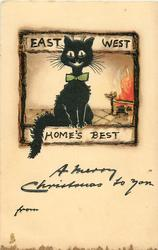 A MERRY CHRISTMAS TO YOU  black cat at fireside