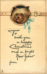TO WISH YOU A HAPPY CHRISTMAS AND A BRIGHT NEW YEAR  dog head, blue or pink bow