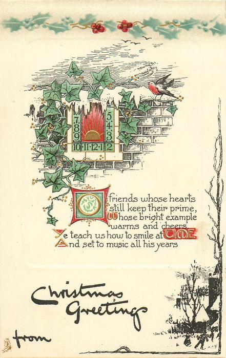 CHRISTMAS GREETINGS  sundial on wall, ivy