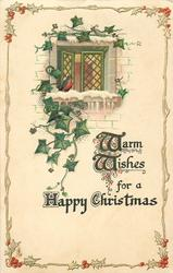 WARM WISHES FOR A HAPPY CHRISTMAS  robin at window, ivy