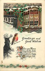 GREETINGS AND GOOD WISHES  robin, house, window & holly