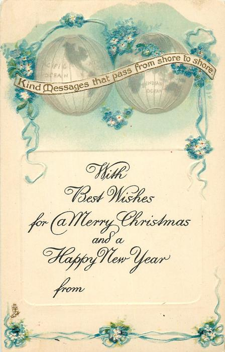 WITH BEST WISHES FOR A MERRY CHRISTMAS AND A HAPPY NEW YEAR  2 globes